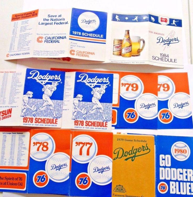 19 LA Dodgers  pocket skeds schedules 1977 78 79 80 84 MLB baseball vintage  #Pocket