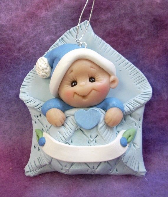 Polymer Clay Christmas Ornaments Instructions | Baby's first Christmas Ornament Personalized Baby Gift by clayqts
