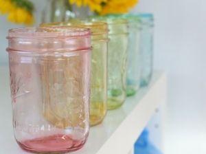 Lots of great mason jar craftsIdeas, Masons, Food Colors, Colored Mason Jars, Tinted Mason Jars, Food Coloring, Diy, Colors Mason, Crafts