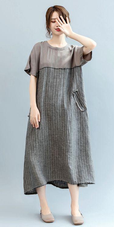 c086b73659 Loose Striped Maxi Dresses Women Linen Clothes Q2567
