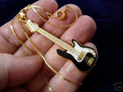 FENDER BASS GUITAR Pendant NECKLACE Jewelry 24k goldplt