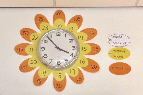 Ik heb deze klok voor mijn groep 4 versierd als bloem om zo de link tussen analoge en digitale tijd beter te kunnen leggen.