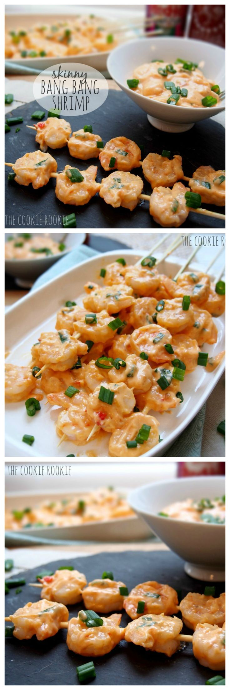 Skinny Bang Bang Shrimp!! Skinny spicy shrimp, the perfect appetizer!! we love these! {The Cookie Rookie}