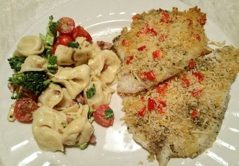Mediterannean Parmesan Crusted Tilapia with Three Cheese Tortellini Salad