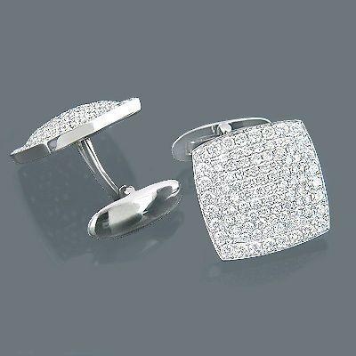 18K Gold & Round Diamond Designer Cufflinks Mens 3.77ct
