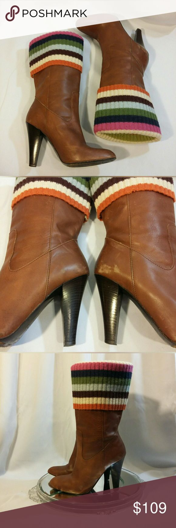"Coach Brown Leather Boots w/Multi Sock Sz 7 Full grain leather boots from Coach with warm and fun multi color ""sock"" that can be worn two ways. Some visible wear, but the boots are still structurally intact and beautiful. Coach Shoes Heeled Boots"