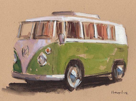 Original Painting VW Bus Hippie Retro Vintage Auto Kombi Watercolor Sketch Drawing 5x7 Line and Wash - Green Bus by David Lloyd