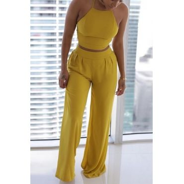 USD9.99Charming Round Neck Sleeveless Ruched Yellow Twilled Satin Two-piece Pants Set