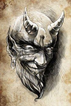 evil skull: tattoo illustration, handmade draw over vintage paper