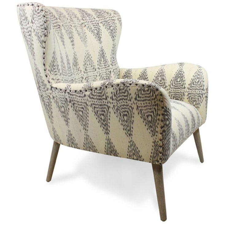 grey white Ikat chair with peg legs