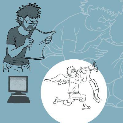 En busca de la verdad. Ilu por Iván Cuadros para un artículo en BCN Més por Alfonso Barguño // Revista cultural independiente - Barcelona // Independent publishing in Barcelona