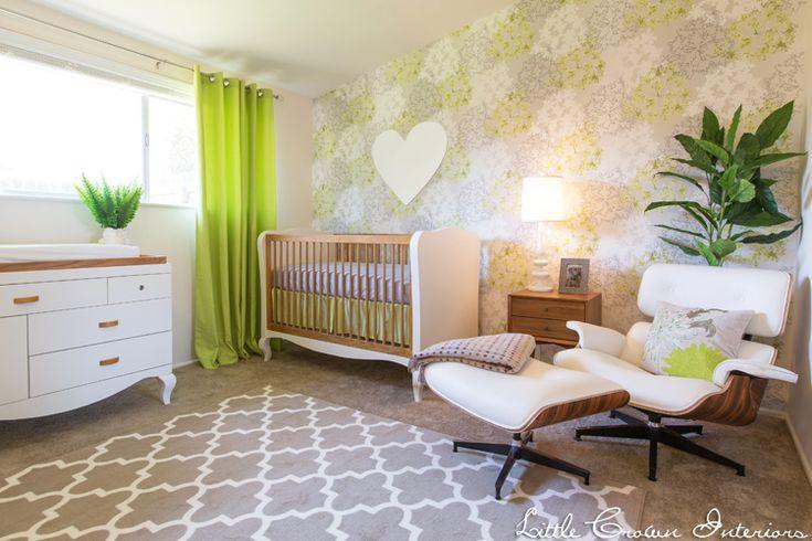 Modern Lime Green Nursery - #modernnursery #summerinthecity: Modern Limes, Limes Green, Crowns Interiors, Projects Nurseries, Modern Nurseries, Neutral Nurseries, Nurseries Design, Green Nurseries, Baby Nurseries
