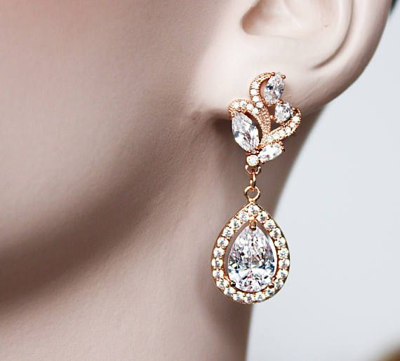 Check out CZ Tear Drop Rose Gold Bridal Earrings, Wedding Cubic Zirconia, Bridal Jewelry, Rose Gold Crystal Wedding Earrings - Elizabeth Earrings on wearableartz
