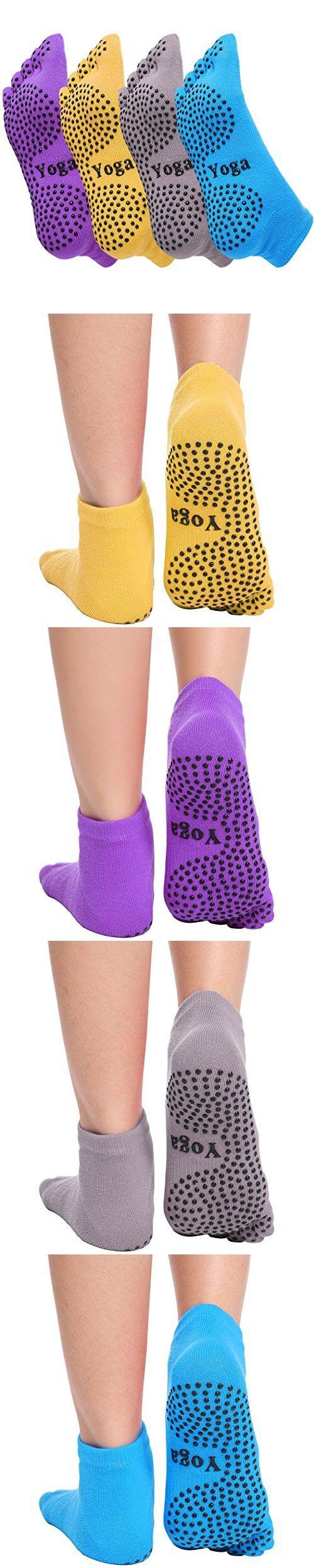 Ekouaer Toe Yoga Pilates Socks Non Slip Skid Barre Sock with Grips for Women & Men (4 Pairs: Blue, Purple, Yellow, Grey)