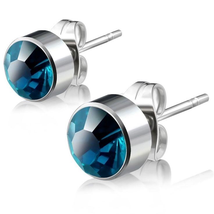 Ronde zirkonia-setting oorstekers / Blue