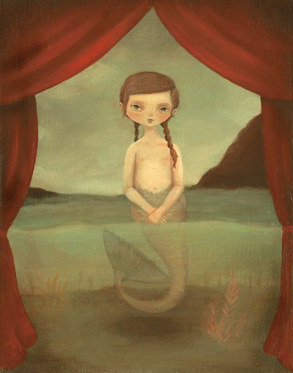 """The Fiji Mermaid Print by Emily Martin 8"""" x 10"""" Print This print is from her wonderful show """"Lost on the Midway"""" that was in the Land Gallery in 2010. The series, which depicts an imaginary carnival w"""