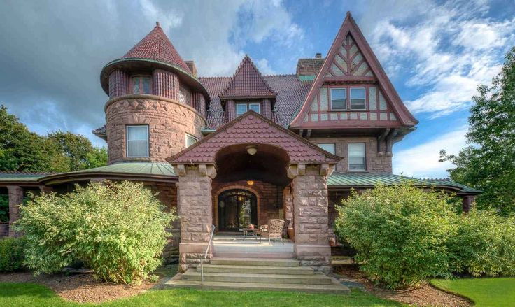 1896 Queen Anne – Watertown, NY – $1,250,000 EMMA FLOWER TAYLOR VICTORIAN MANSION-Constructed of Medina (Brownstone) Sandstone. Designed by noted architects Lamb & Rich known for design of Teddy Roosevelt's Sagamore Hill home in Oyster Bay, Long Island. The home was built primarily in the Queen Anne style as a wedding gift by New York Gov. Roswell Pettibone Flower for his daughter in 1895.