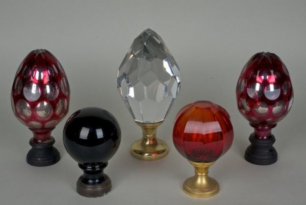 (5) French and Bohemian glass newel post finials/800+
