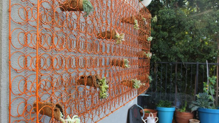 Bed Spring Trellis Living Wall Made From Old Mattress