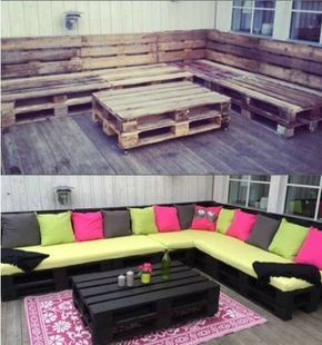 Revamp some palates! Great rustic living room idea or for outdoors. Cheap and easy before and after