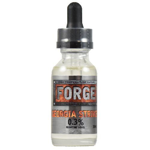 Forge Vapor eLiquids Georgia Striker - A sweet peach flavor that packs as much sweet as it does peach. Georgia Striker is a mouth watering sweet peach flavor that works around the bitter peach tannin and chemical aftertaste that make so many peach vapes good, but not great.75% VG