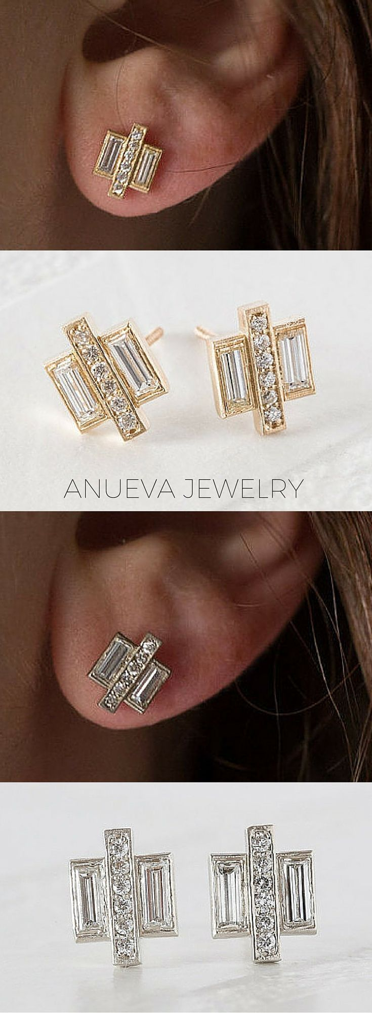 Baguette and pave geometric diamond earrings using recycled gold and recycled diamonds. Modern, edgy earrings by Anueva Jewelry on Etsy.