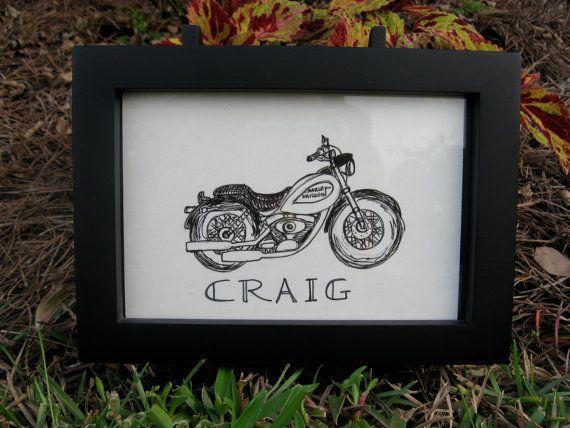 Harley Davidson Motorcycle Note Card by MyTinyGardenShop on Etsy, $3.00