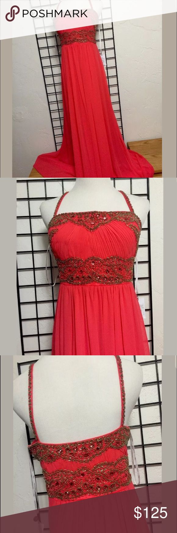 Sue Wong Nocturne Beaded Flame Gown Sz 12 dress Beautiful Sue Wong Nocturne Beaded Gown Size 12 Orange / Red Flame color  Sheer polyester  Fully lined  Beaded bodice  Hidden side zipper  NWT Sue Wong Dresses