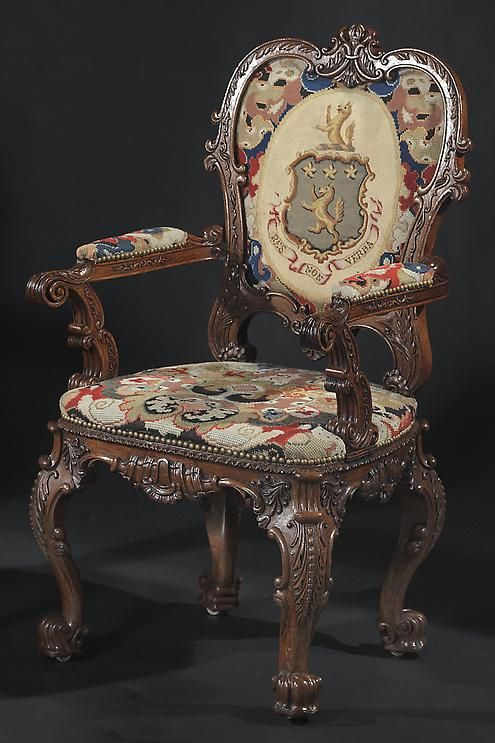 A Pair of George IV Needlework-Covered Carved and Grained Oak Armchairs, by J. Williamson - Hyde Park Antiques, Ltd.