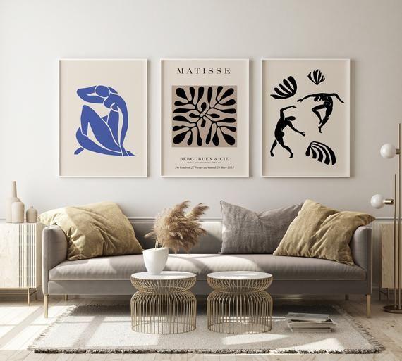 Matisse Sketch Print Set Gallery Wall Set Set of 3 Print 3 Piece Wall Art Exhibition Wall Art Set Digital Print Set