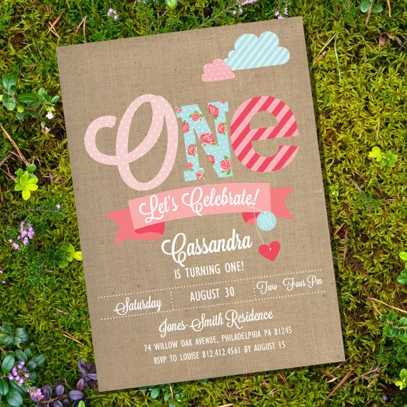 Shabby Chic First Birthday Party Invitation  by SunshineParties, $5.00 #ShabbyChic #ShabbyChicBirthdayInvitation
