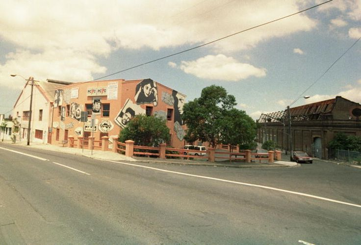 1993 The corner of Erskineville Road and Angel Street. The PCYC building (left) and the old tram shed (right) are featured.