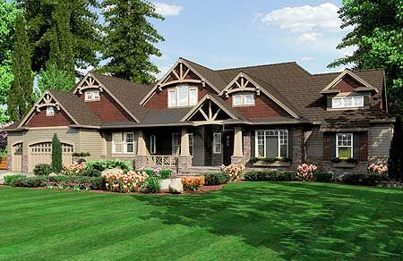 some changes in the floor plan would be necessary, but love the exterior - both front and back: Houses Plansdesign, Traditional Houses Plans, Dreams Home, Dreams Houses, Floors Plans, Builderhouseplan With, Houses Ideas, Craftsman Style, Craftsman Houses Plans