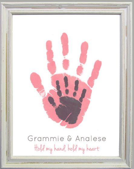 A 60th Birthday Gift For Mom Personalized Grammie And Me Handprint Art Print By My Forever Prints Etsy