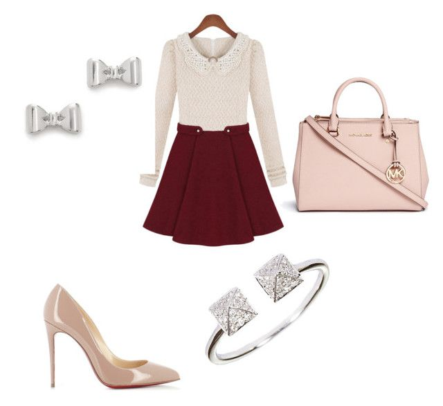 girly outfit by denisaonisie on Polyvore featuring polyvore fashion style Christian Louboutin Michael Kors Marc by Marc Jacobs