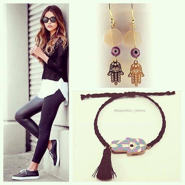 Hamsa bracelet & Earrings with evil-eye for good luck