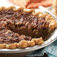 "make a pecan pie without corn syrup! From an old recipe ""pre corn syrup""... The method is very straightforward, baking takes a while, but gives the pecans time to get wonderfully toasted. KAF"