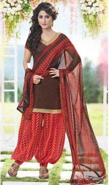 Glamorous Saddle Brown Cotton Daily Wear Punjabi Dress