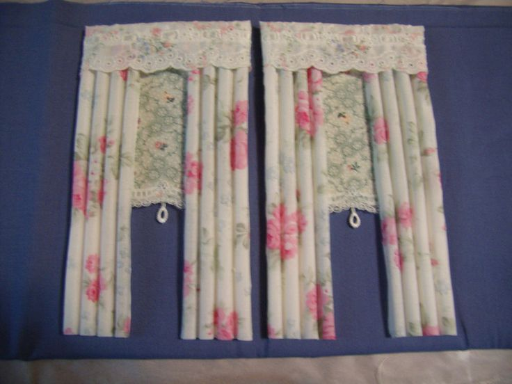 Pair Dollhouse Curtain/drapes 1/12th For 2 Windows Self Stik Chic And Shabby