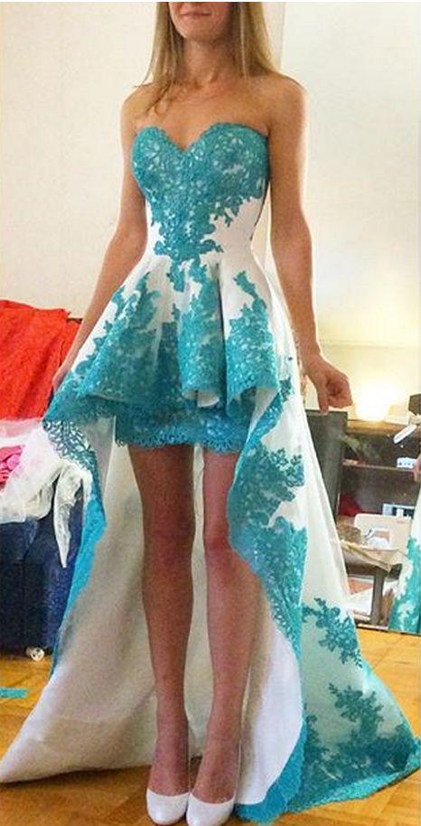Prom Dress, A-Line Prom Dress, Sweetheart Prom Dress, Hi-Lo Prom Dress, 2016 Prom Dress, Glamorous Prom Dress, Lace Prom Dress, Applique Prom Dress