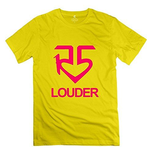 Mens Cool Tees  R5 Band Louder Logo Yellow Size XL