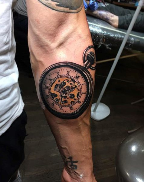 200 Popular Pocket Watch Tattoo Designs & Meanings nice