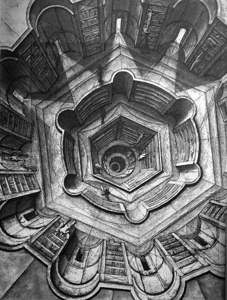Érik Desmazières, The Library of Babel (Aquatints and etchings), 1941.