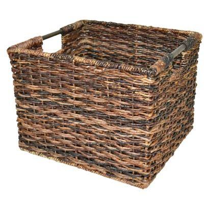 Wicker large milk crate dark brown threshold toys for Where can i buy wooden milk crates