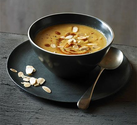 Moroccan spiced cauliflower & almond soup. Satisfying and comforting soup is the ultimate meal in a bowl, like this smooth and spicy North African blend