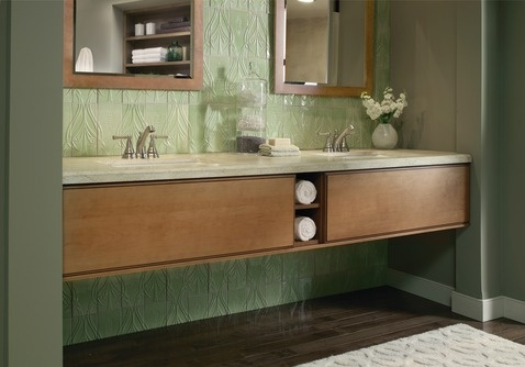 Moen's Sage® Collection's delicate, unadorned style is a study in tasteful simplicity, imparting an air of calmness.