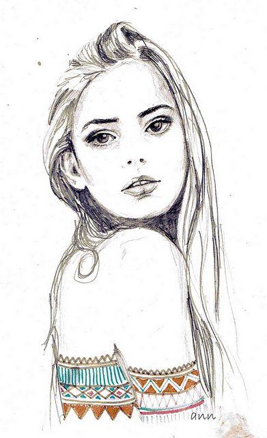 Girl Drawing girl sketch draft