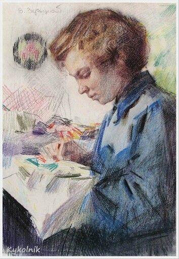 Зарецкий Виктор Иванович (Украина, 1925– 1990) «За вышиванием» 1965