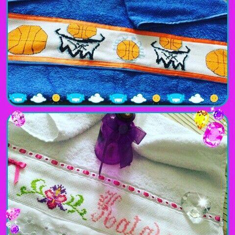 Toallas personalizadas para ni os bordados con coraz n y - Toallas infantiles personalizadas ...