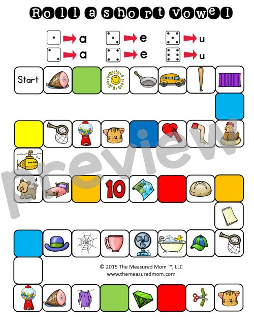 26 FREE PRINTABLE for short vowel sounds game/activity. Perfect for first grade.